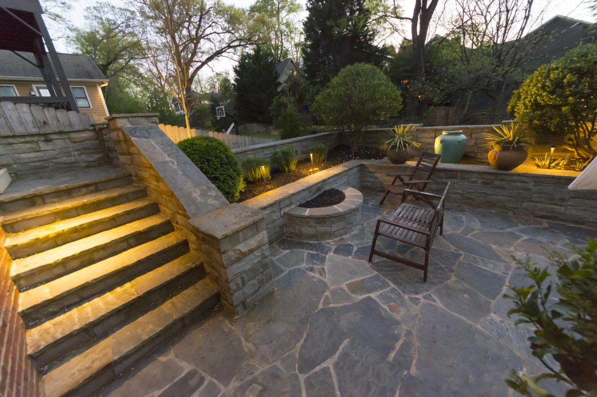 outdoor backyard stone patio