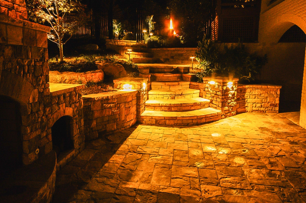 exterior hardscape with surface lighting on stairway