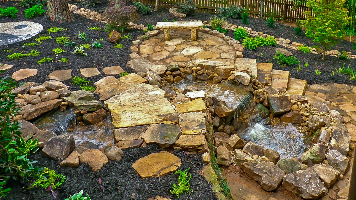 outdoor hardscape garden waterfall