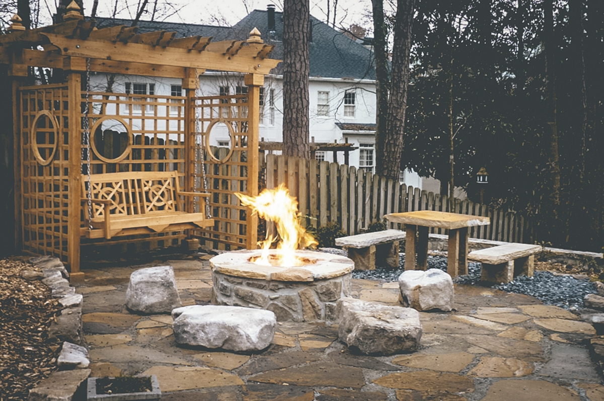wooden backyard swing and pergola next to stone fire pit living area