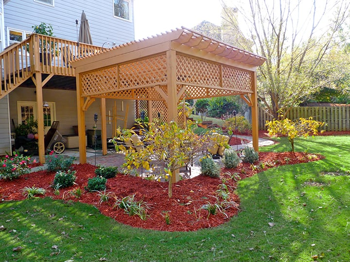 backyard pergola with architectural landscape design