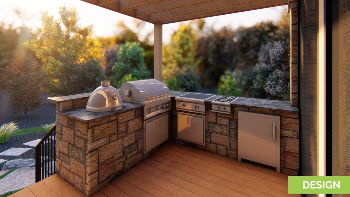 backyard kitchen makeover 3d design render