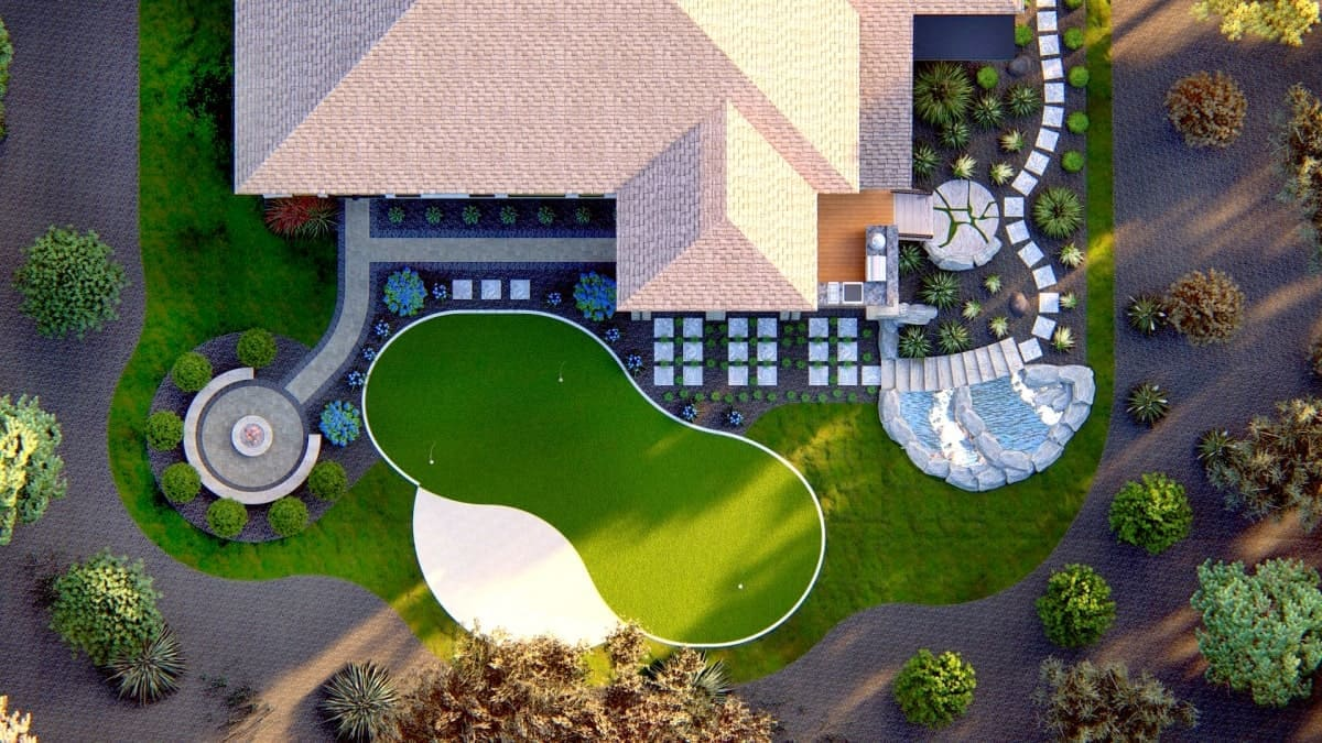 3d design mockup overhead view of home with backyard putting green