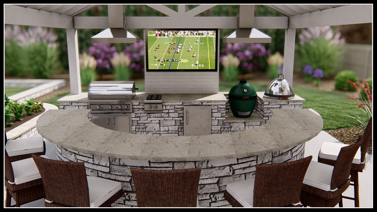 backyard outdoor hardscaped bar with grill, smokers, and stainless steel grill