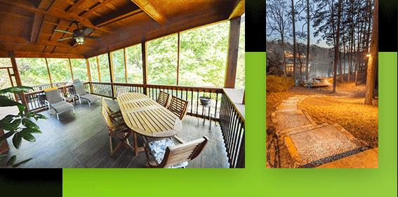 backyard walkway and patio living space