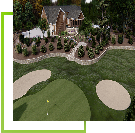 home with landscaping and backyard putting green