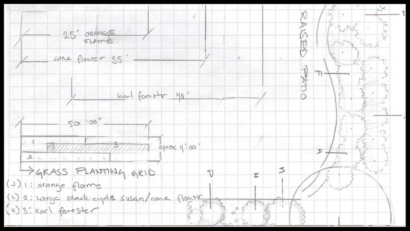 hand written outdoor landscaping design plans
