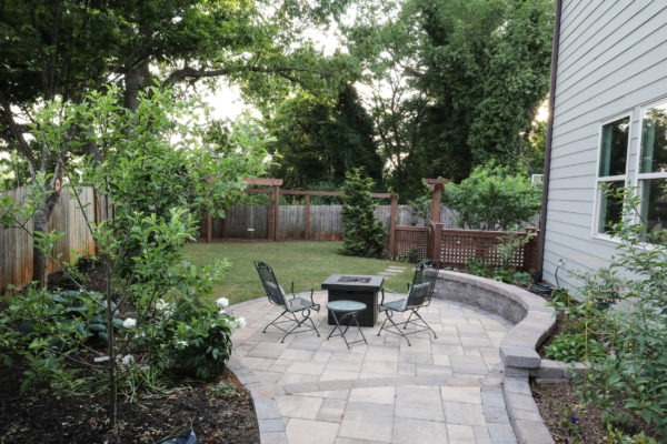 backyard patio with outdoor furniture and hardscaping