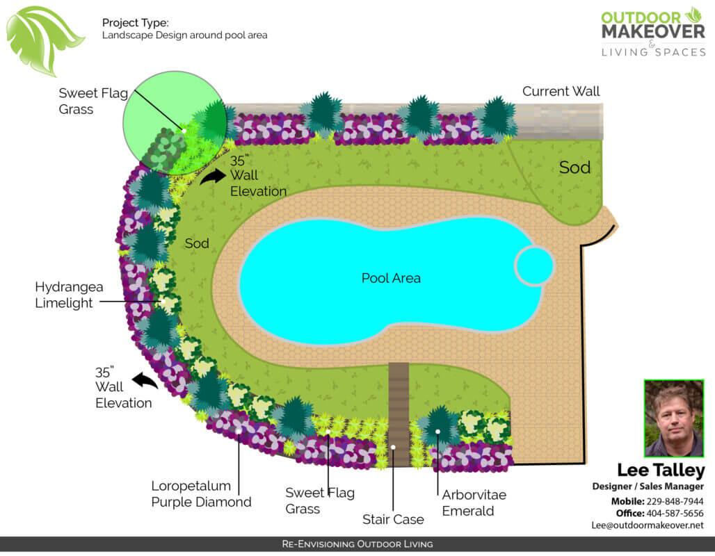 landscape design around pool area plans