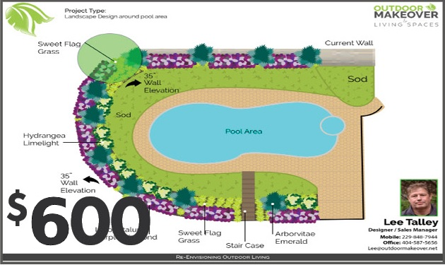 outdoor makeover design plans for pool area