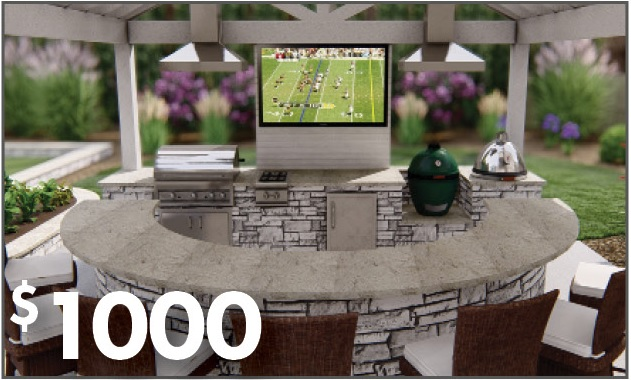 outdoor kitchen and bar with television
