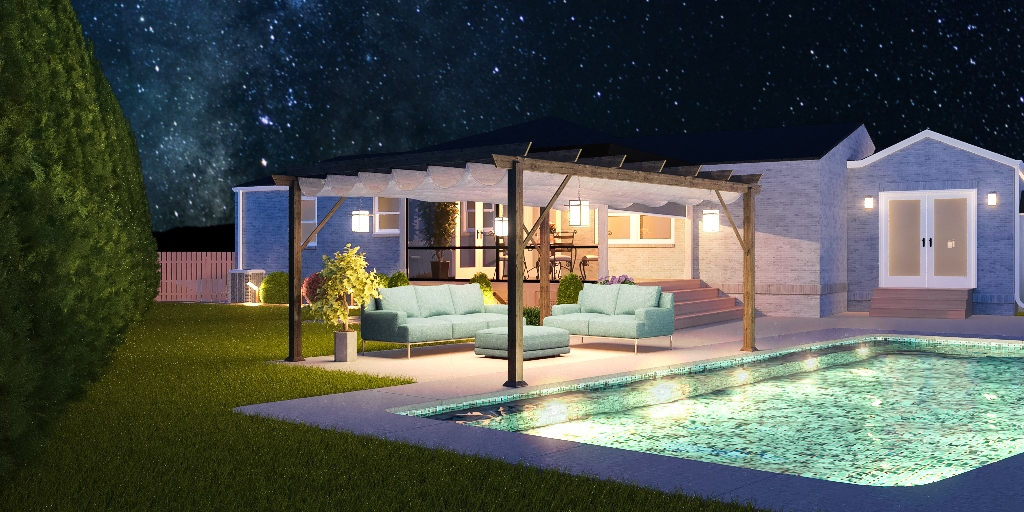 3d design of home with pool