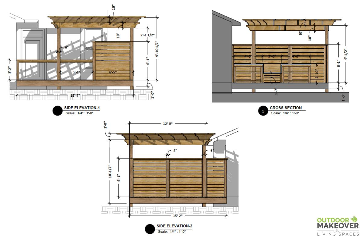outdoor living space design plans autocad