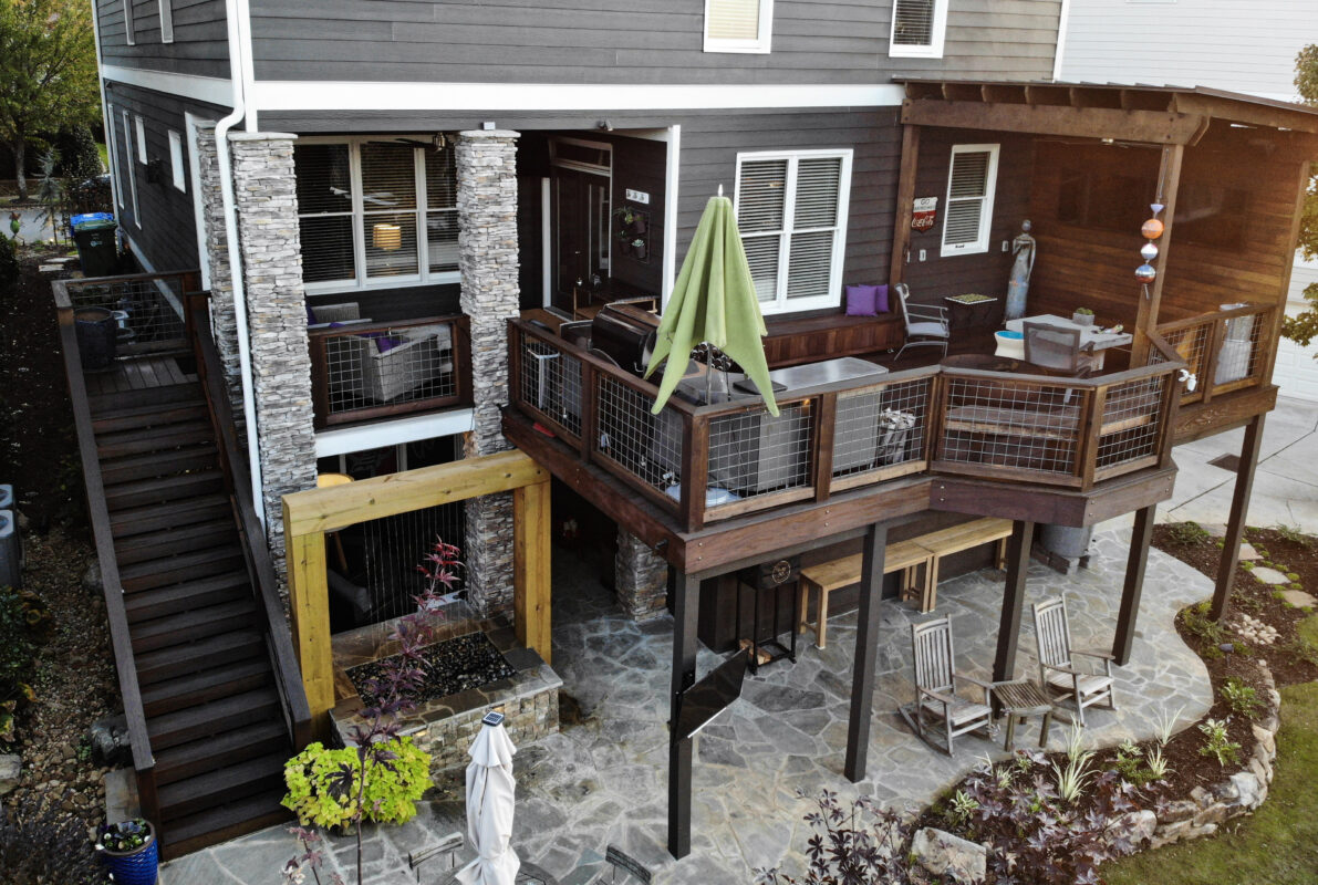 backyard wood porch with outdoor living room