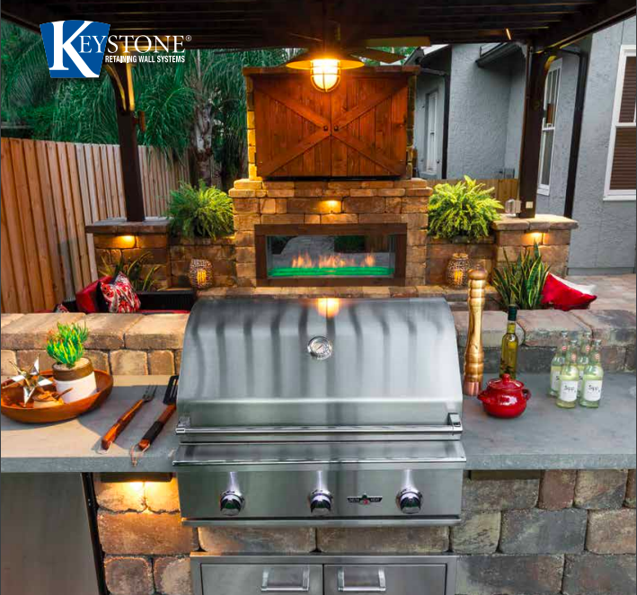 outdoor kitchen and living area design from keystone